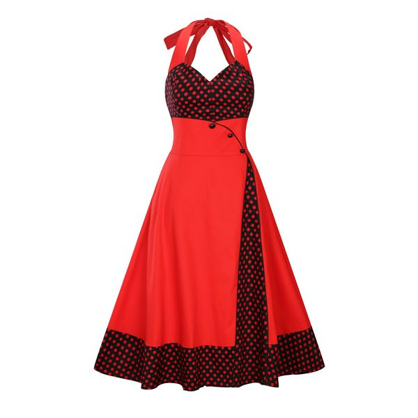 Milagros Retro Polka Dots Halter Dress