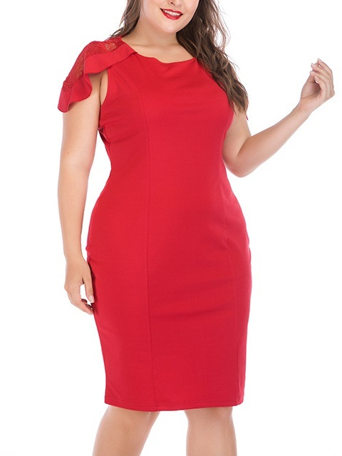 Milada Red Lace Cap Sleeve Dress