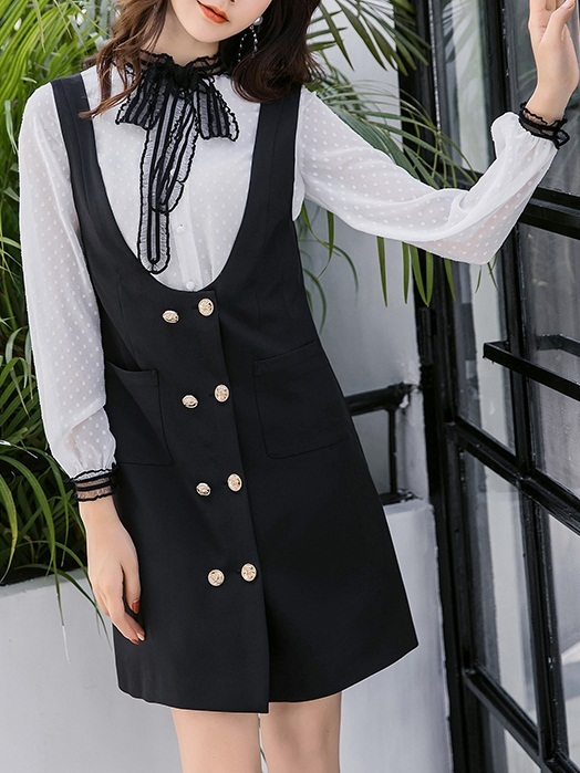 Millicent [SET] Blouse and Double Breast Pinafore Dress