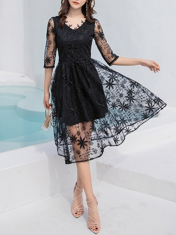 Minami Lace V-neck Swing Dress