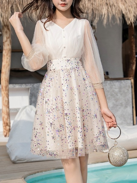 Min Sequin Balloon Sleeve Swing Dress