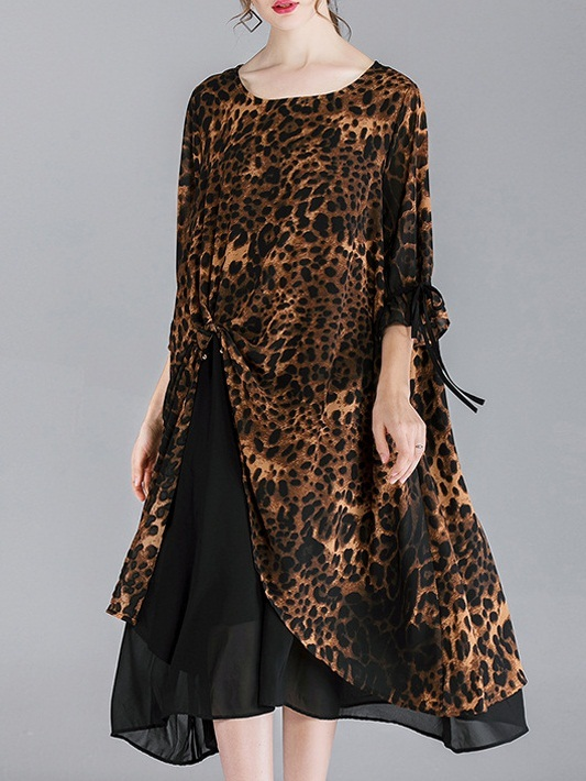 Mindry Leopard Layer Dress