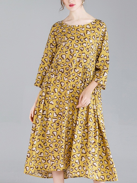 Mindy Yellow Hearts Midi Dress