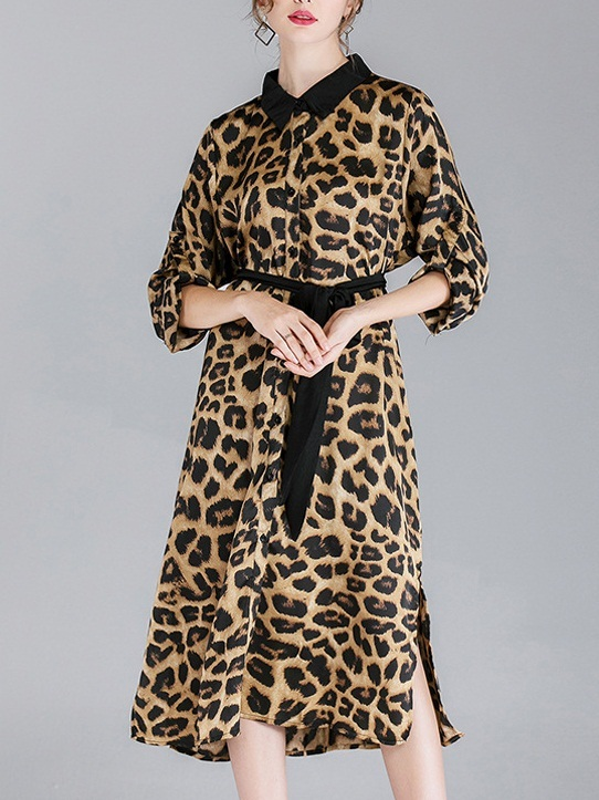 Ming Leopard Print Shirt Dress