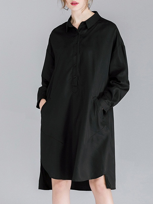 Ming Yue Pocket Curve Hem Shirt Dress