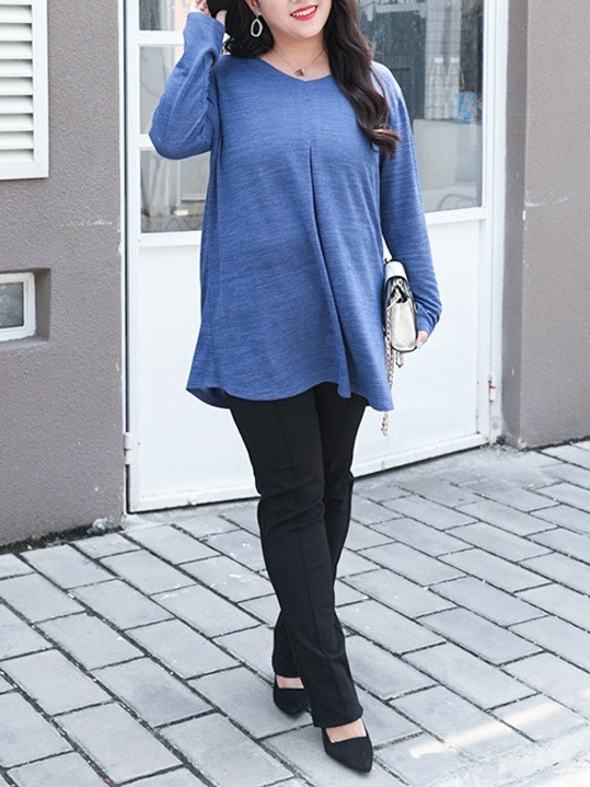 Miriyana Blue Pleat L/s Top (EXTRA BIG SIZE)