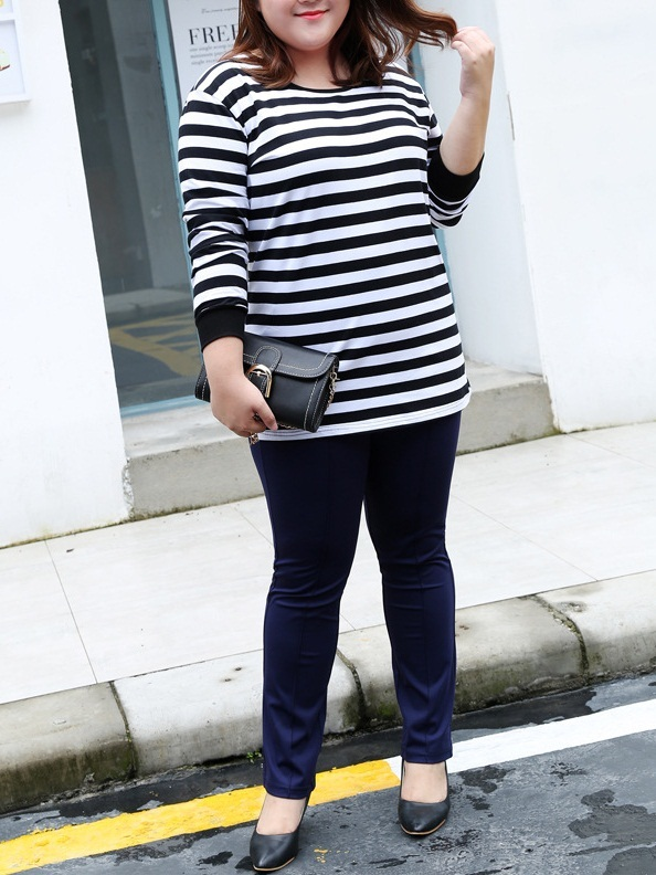 Mirjam Black and White Stripe L/s Top (EXTRA BIG SIZE)