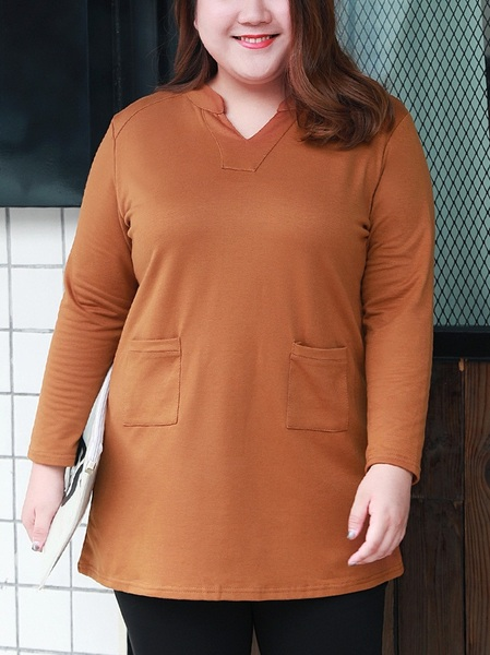 Mishelle V-neck Brown L/s Tee Top (EXTRA BIG SIZE)