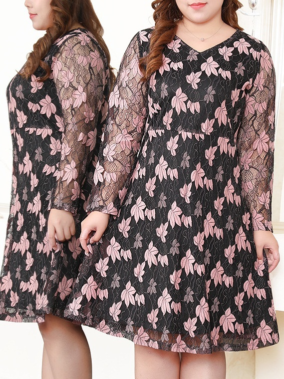 Misti Pink Floral V-neck Lace Dress (EXTRA BIG SIZE)