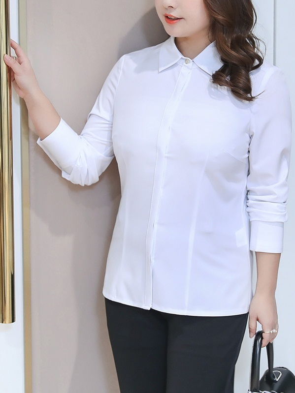 Misty Long Sleeve White Work Office Shirt (EXTRA BIG SIZE)