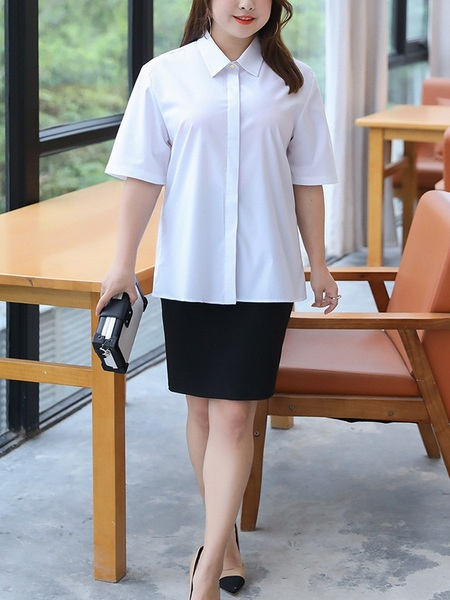 Mitzy Short Sleeve White White Work Office Shirt (EXTRA BIG SIZE)