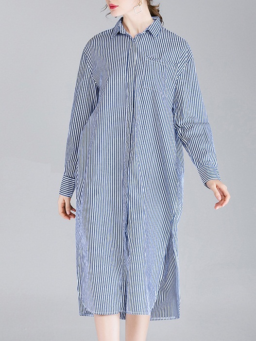 Miquella Side Slit Stripe Midi Shirt Dress