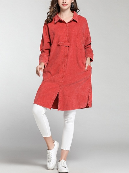 Miray Corduroy Midi Shirt Blouse
