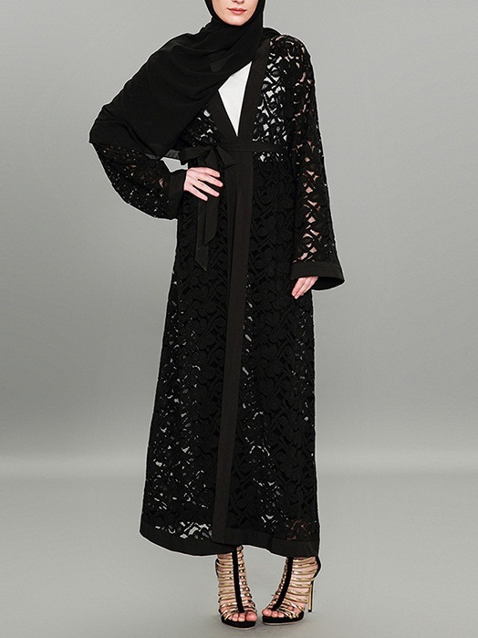 Morna Hollow Lace Maxi Jacket
