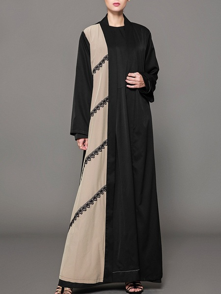 Moria Colourblock Khaki, Black and Lace Maxi Abaya Dress