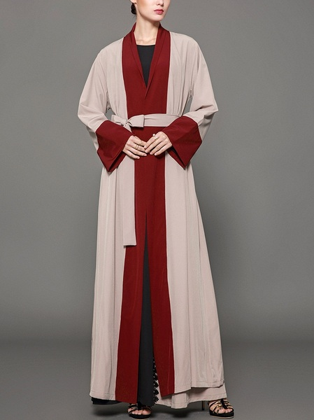 Morey Red and Khaki Colourblock Maxi Jacket
