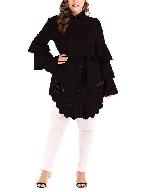 Mora Cutout Tier Bell Sleeve Tunic Blouse Shirt