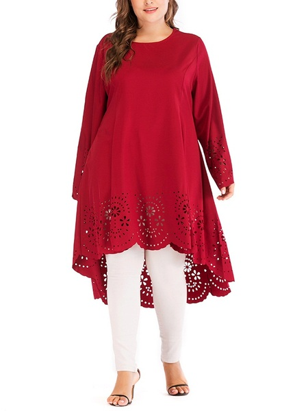 Montana Red Cutout Longer Back Tunic Blouse