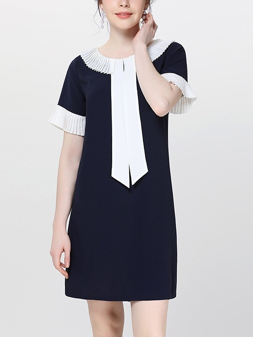 Myrle Blue Frill Shift Dress