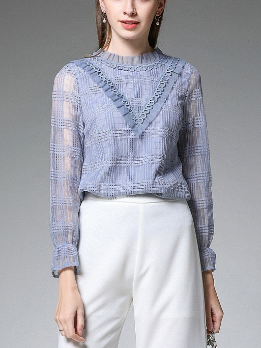 Myriam High-neck Blue Lace L/S Blouse