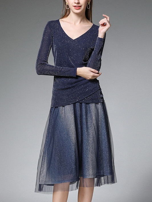 Myra Sparkle Wrap L/s Top and Tulle Ombre Midi Skirt Set