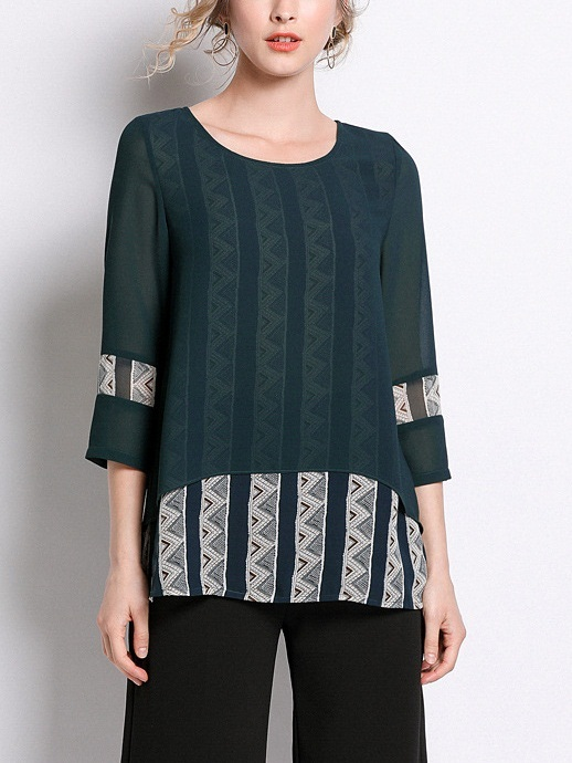 Mylinda Green Chiffon Pattern Layer Blouse