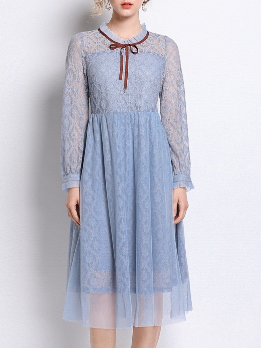 Mylie Tulle Blue Lace Midi Dress