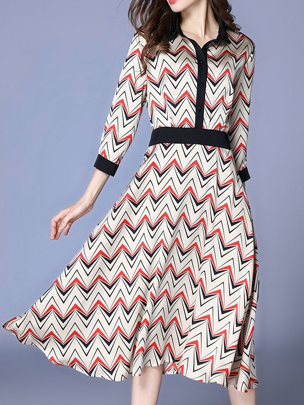 Myfanwy Chevron Swing Midi Shirt Dress