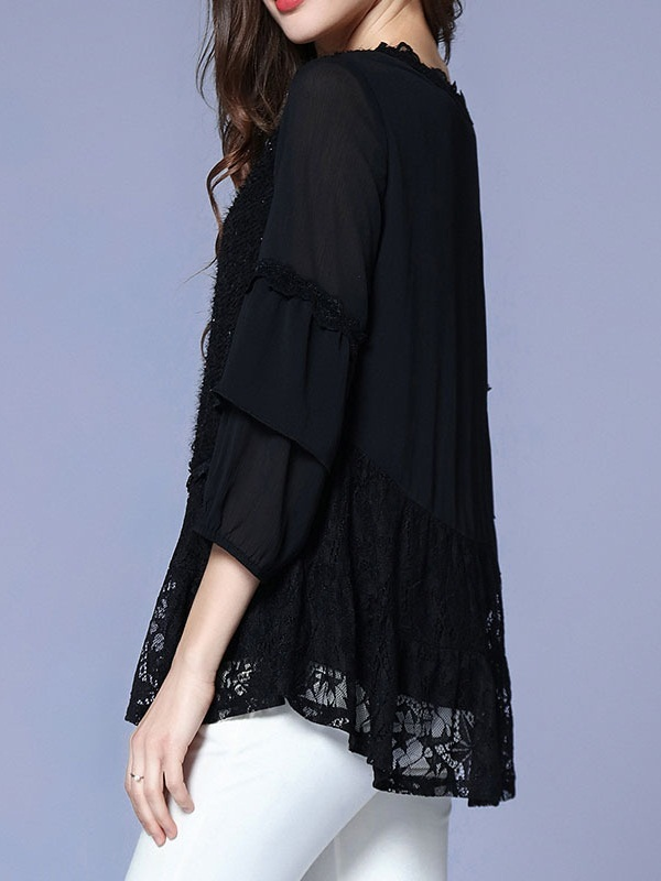 Myana Shimmer Black Lace Blouse