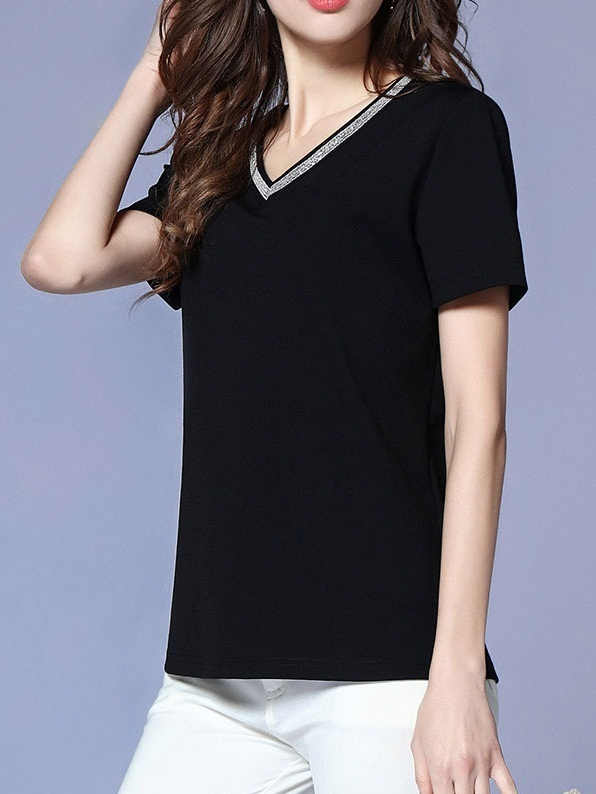 Myah Embellished V-Neck Tee
