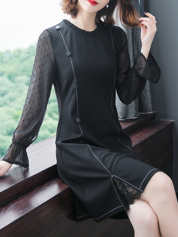 Nadine Black Split Hem Dress