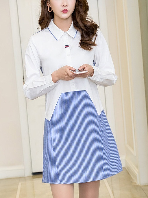 Nadira Blue and White Shirt Dress