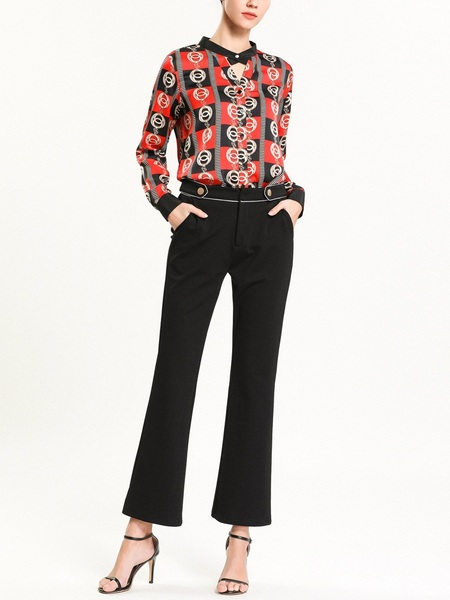 Nadya Red and Black Printed Keyhole Blouse