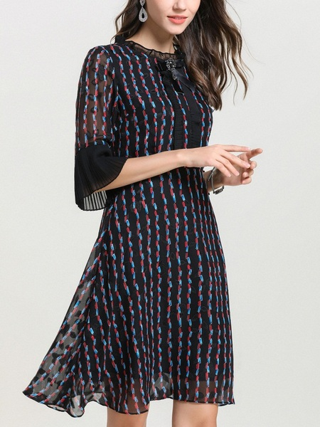 Nahla Brooch Printed Crepe Dress
