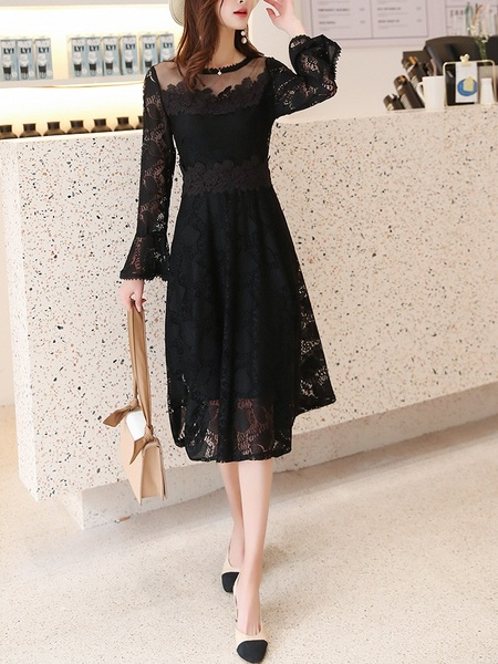 Nan Bell Sleeve Swing Lace Midi Dress