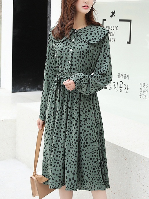 Nantale Green Dots Collar Dress