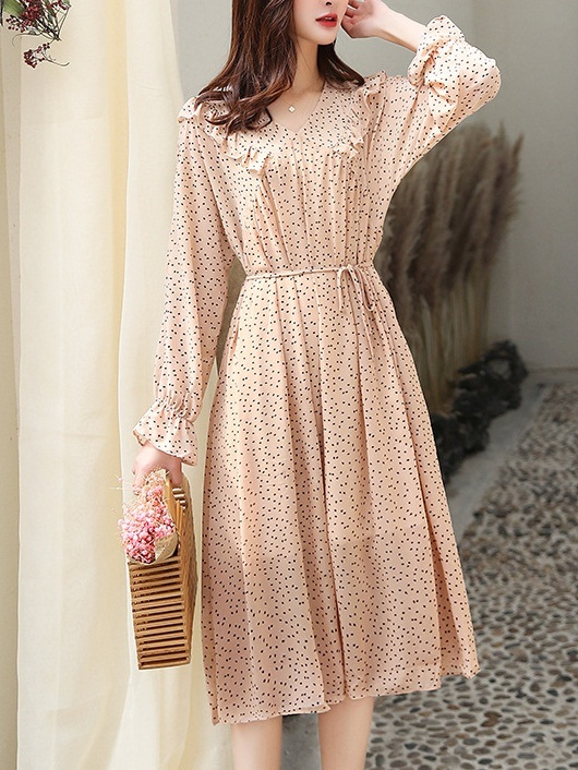 Naomi Chiffon Collar Waist Tie Dress