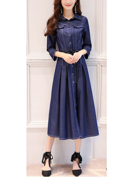 Narina Denim Pleat Swing Midi Shirt Dress