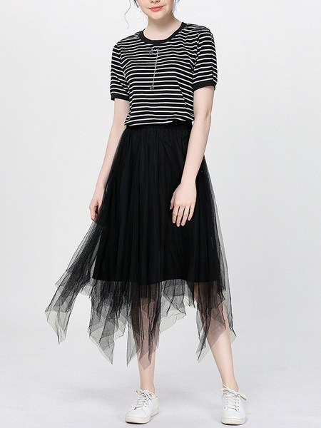 Nazia Stripe Tee and Tulle Skirt Set