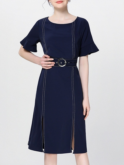 Nazelli Blue Stitch Belted Dress