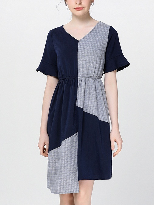 Nayo Bell Sleeve Mix Fabric Dress