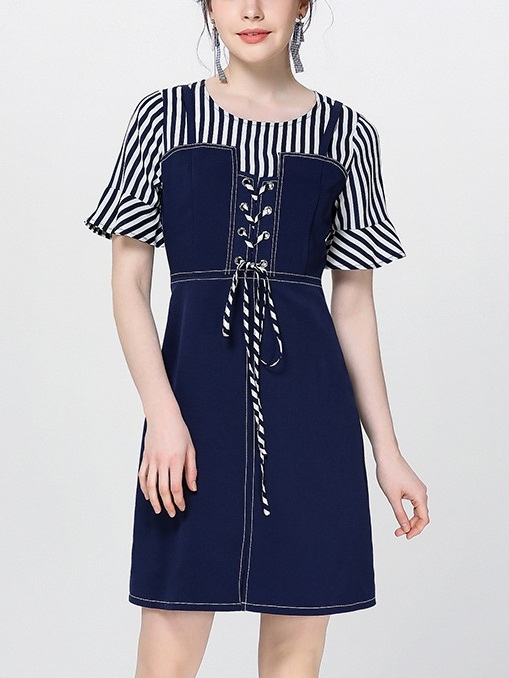 Nayab Corset Tie Stripe Layer Mock 2 Piece Dress