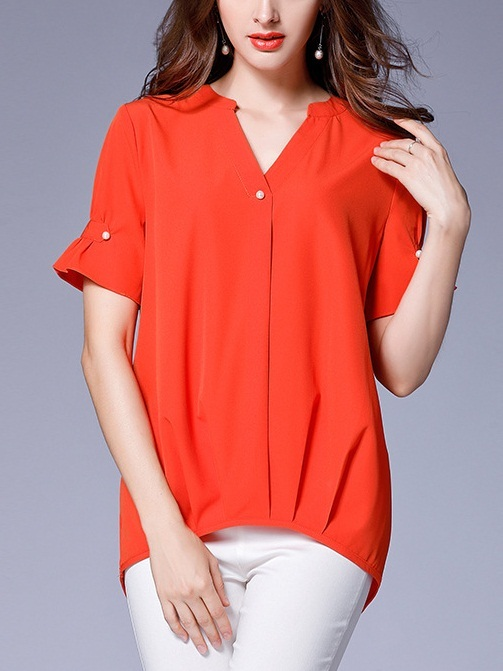 Navya Orange Pearl Wrap V-Neck Blouse