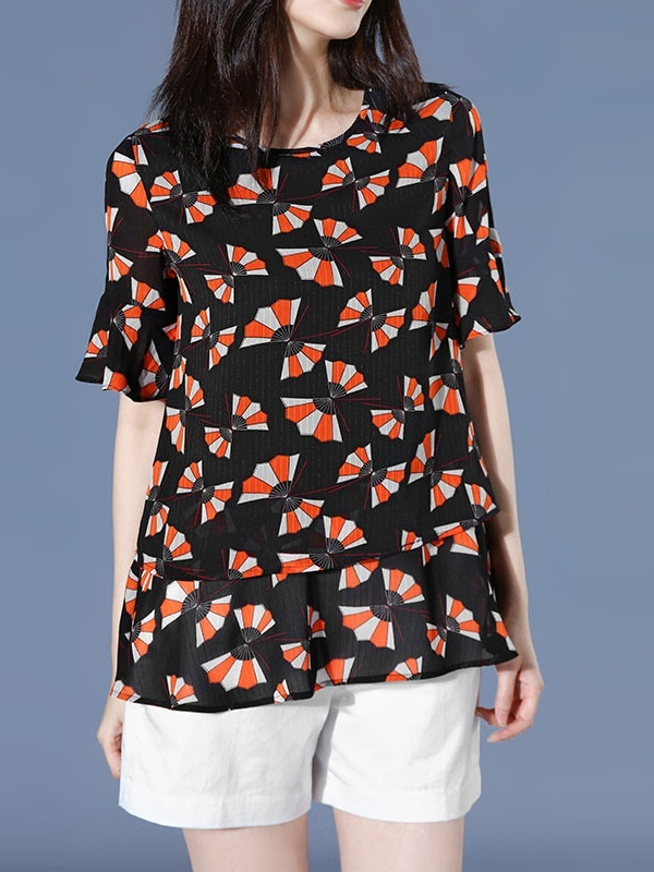 Nathaly Red Fan Print Blouse