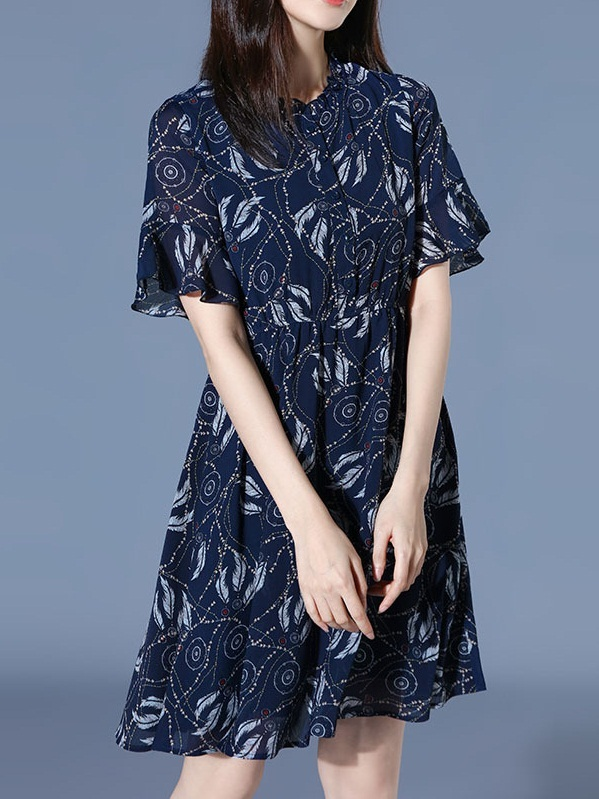 Nathalia Blue Feather Chiffon Shirt Dress