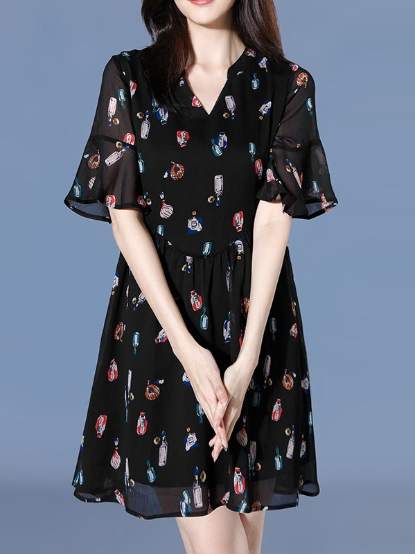 Natasha V-Neck Perfume Chiffon Bell Sleeve Dress