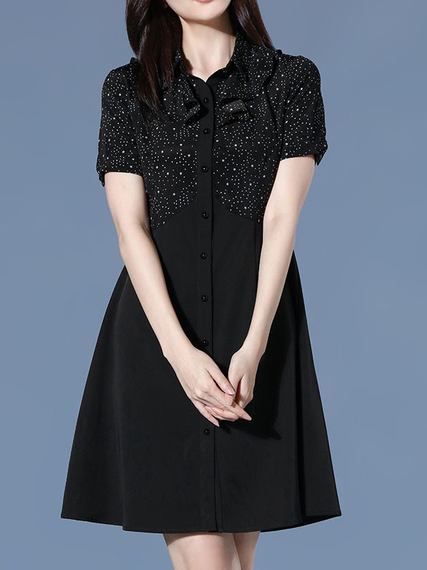 Natania Dots Button-down Frill Shirt Dress