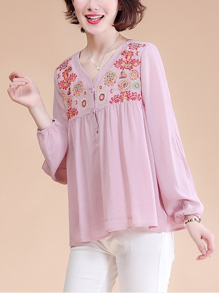 Natalya Embroidery Pink Blouse