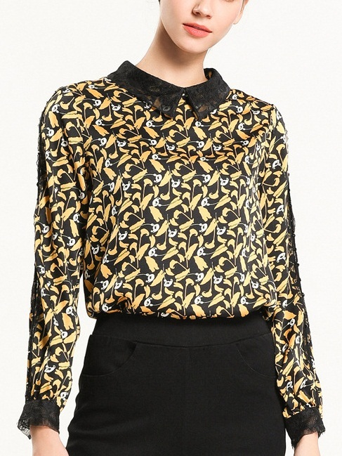 Nelda Lace Collar Yellow Print L/S Blouse