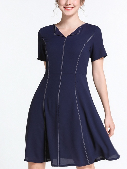 Nera Flip Collar Blue Swing Dress